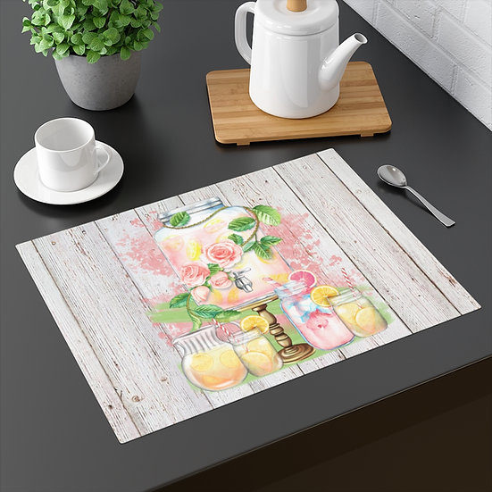 Farmhouse Placemat, Pink Lemonade, 18 in x 14 in Table Placemats, Kitchen Decor