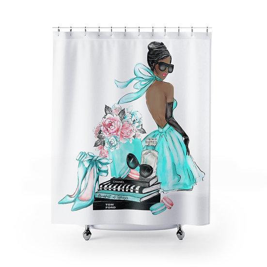 Shower Curtain, Fashion African American Woman, Blue Fashion illustration
