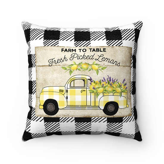 Farmhouse Pillow, Lemon Truck, Black and White Plaid, Pillow with Cover