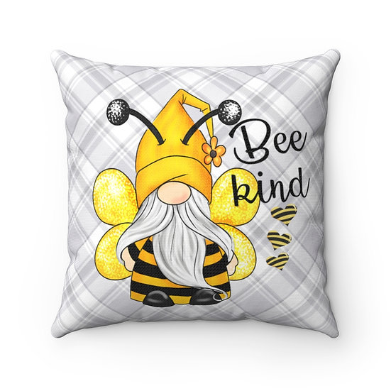 Bee Kind Gnome Farmhouse Pillow, Yellow Gnome Throw Pillow, Gnome Pillow Decor
