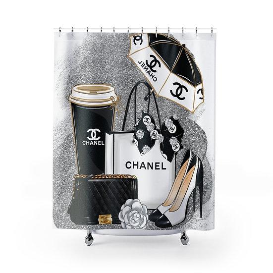 Shower Curtain, Fashion, Shoes, Silver, Make up, Fashion illustration, Shower