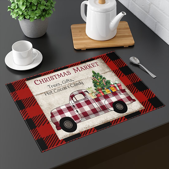 Farmhouse Placemat, Christmas Linens Country Truck, 18 in x 14 in Table Placemat