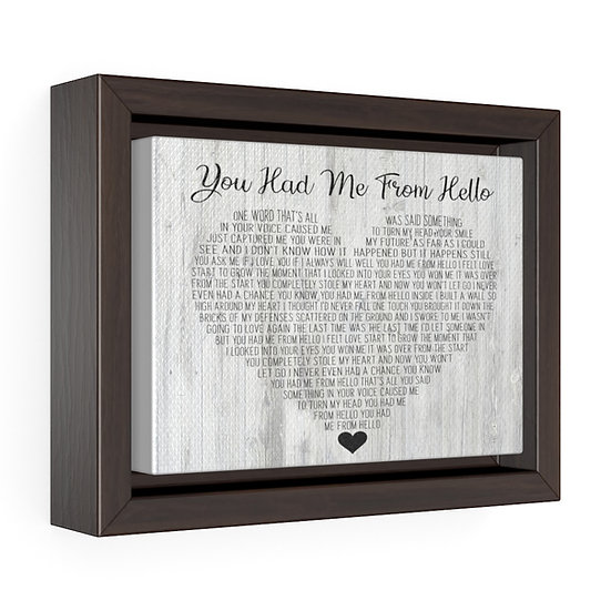 Personalized Canvas Print, You Had Me From Hello Framed Wrap Canvas
