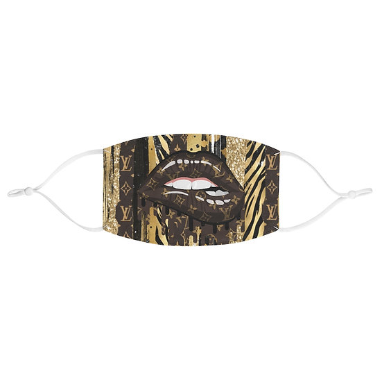 Brown Gold Fashion Lips Fabric Face Mask