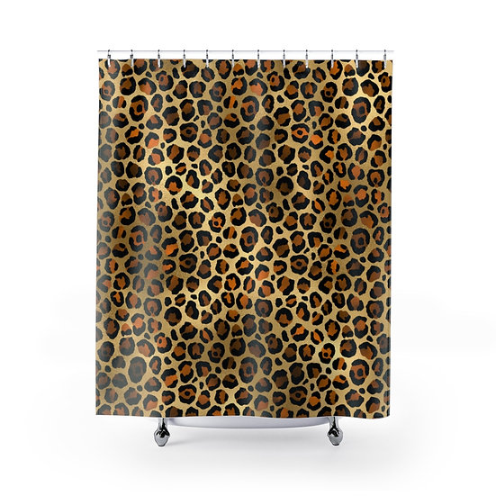 Leopard Print Shower Curtain, Glam Fashion Bathroom Decor