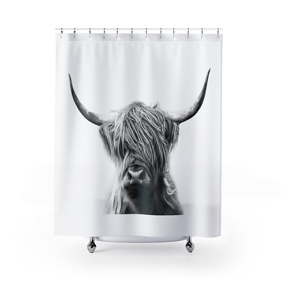 Black and White Highland Cow Shower Curtain, Rustic Ranch Bathroom Decor