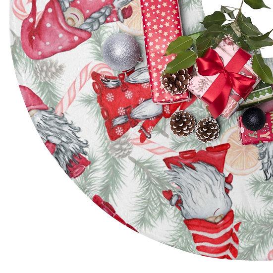 Christmas Tree Skirts, Red Pink Gnome Christmas Decor