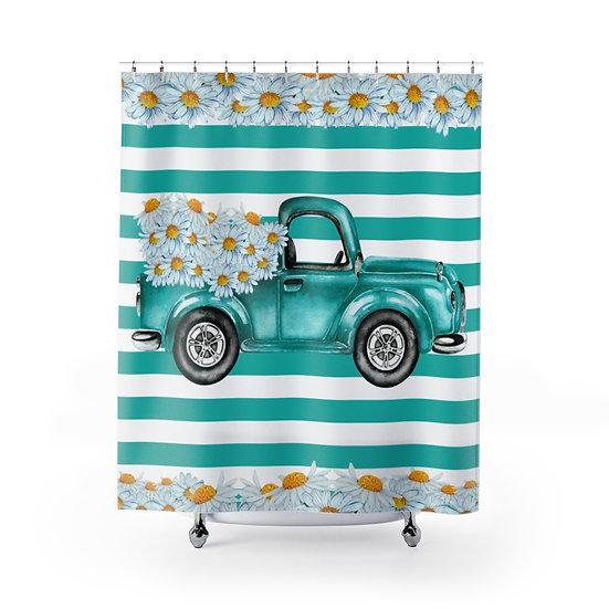 Farmhouse Shower Curtain, Daisies Teal Truck Fabric Liner,