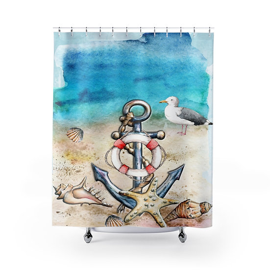 Shower Curtain, Personalized Sandy Beach Designer Curtain, Last Name Liner
