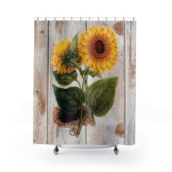 Farmhouse Sunflower Shower Curtain, Rustic Farmhouse Bathroom Decor