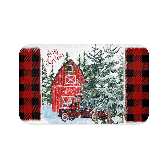 Merry Christmas Farmhouse Bath Mat, Christmas Bathroom Decor