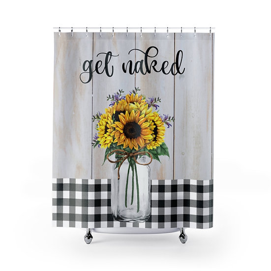 Shower Curtain, Get Naked Sunflowers Mason Jar Shower Curtain, Modern Farmhouse