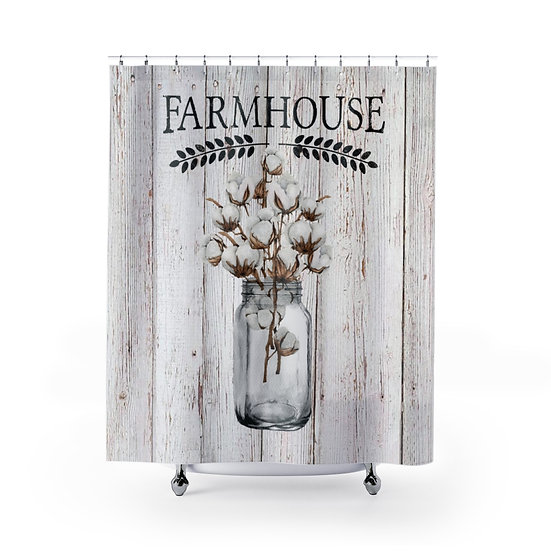 Farmhouse Shower Curtains, Country Mason Jar Of Cotton Fabric Liner