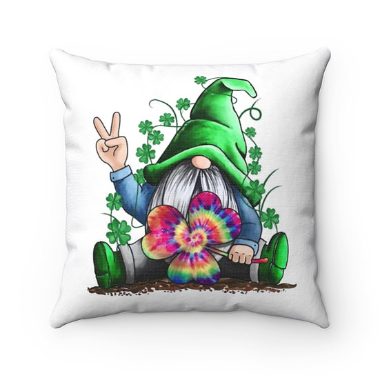St Patricks Gnome Farmhouse Pillow