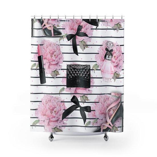 Shower Curtain, Pink Fashion illustration, Fashionista Shower Curtain,