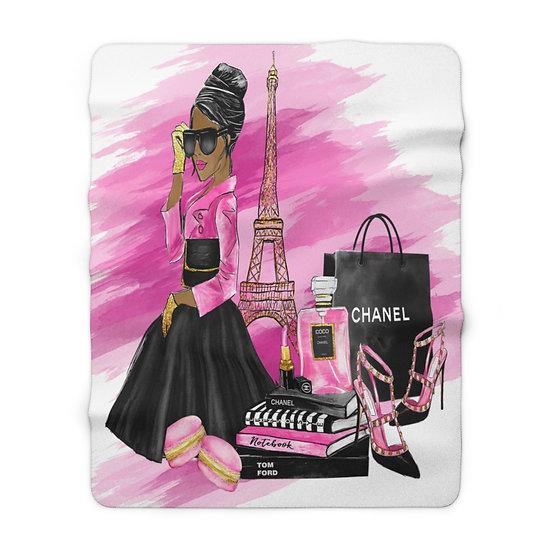 Blanket, Fashion Sherpa Fleece Blanket, African American Fashion, Pink