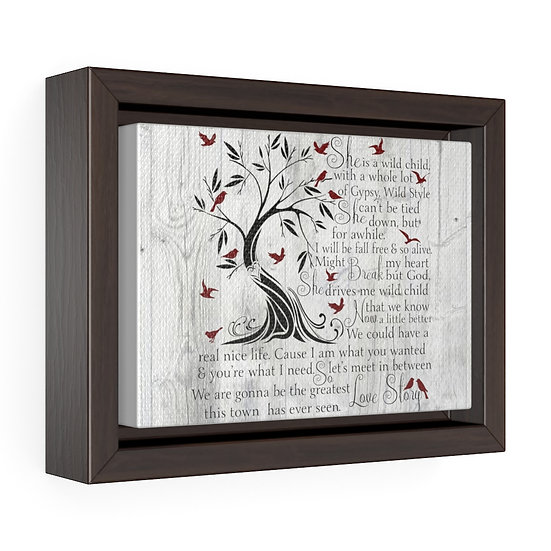 Canvas Print, Greatest Love Story,  Song Lyric Wood, Horizontal Framed Wrap