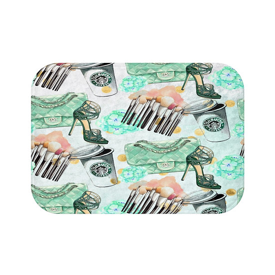 Bath Mat, Coffee, Shoes, Handbag Fashion, Fashion Illustration bathroom decor