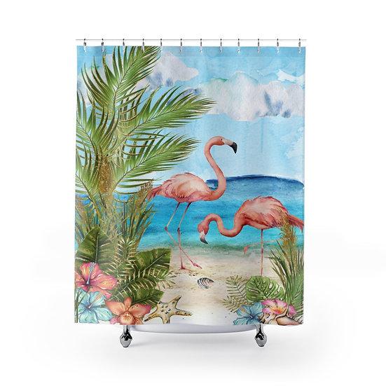 Shower Curtain, Flamingo Beach Designer Curtain, Seaside Shower Curtain Liner