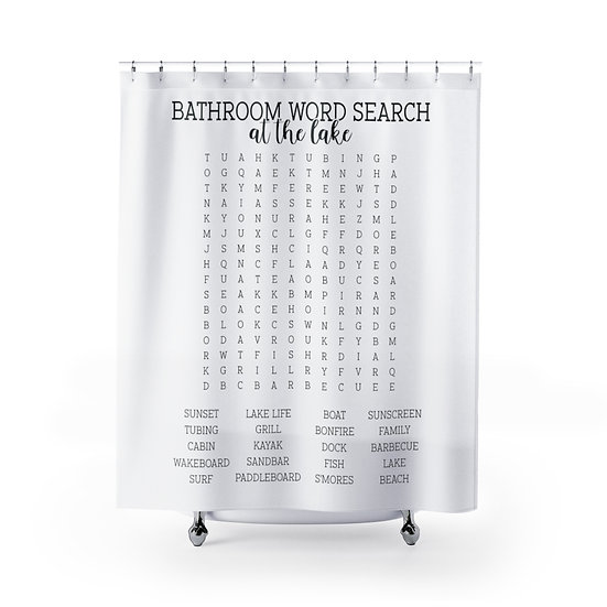 Forget Your Phone At the Lake Edition Shower Curtains, Word Search Fabric Liner