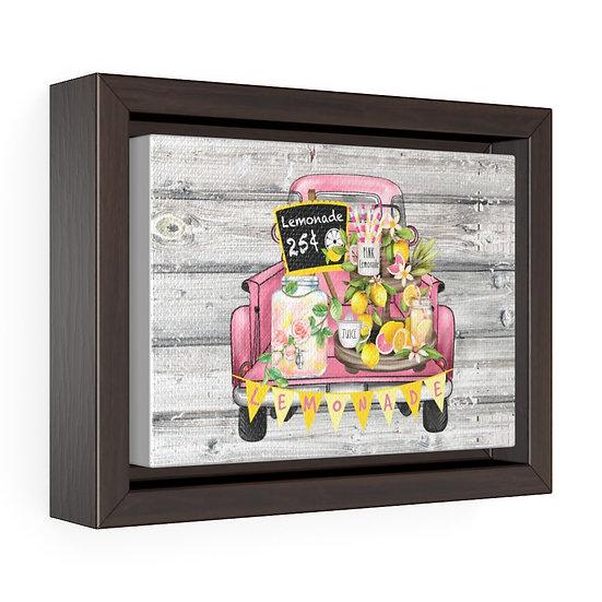 Canvas Print, Modern Farmhouse Pink Lemonade Truck, Lemon Wall Art, Horizontal