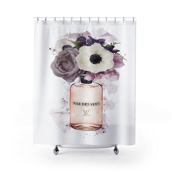 Shower Curtain, Floral Fashion illustration, Perfume, Flower, Fashionista Shower