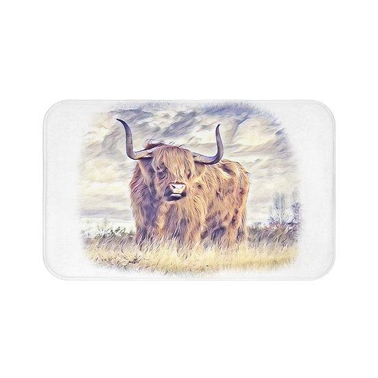 Bath Mat, Highland Cow Bath Mat, Non Slip Bathroom Rug, Cute Farmhouse Bath Mat