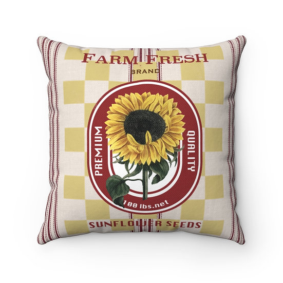 Pillow, Rustic Sunflower Feed Sack, Country Farmhouse Pillow, Ranch Throw Pillow