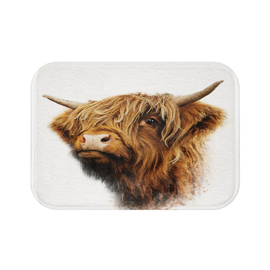 Highland Cow Bath Mat, Bathroom Accessories, Rustic Ranch Bathroom Decor