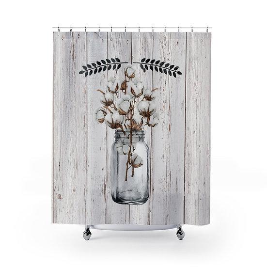 Farmhouse Shower Curtains, Country Mason Jar Of Cotton Farmhouse Bathroom Decor