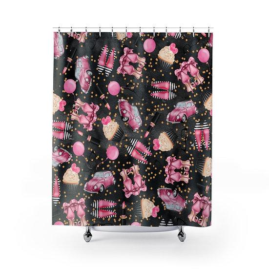 Shower Curtain, Black and Pink Fashion illustration, Fashionista Shower Curtain