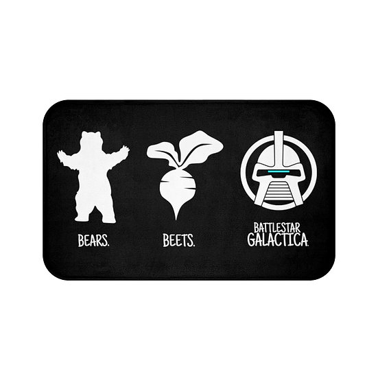 Bath Mat Bear Beets Battlestar Galactica The Office, Black Bath Room Accessories