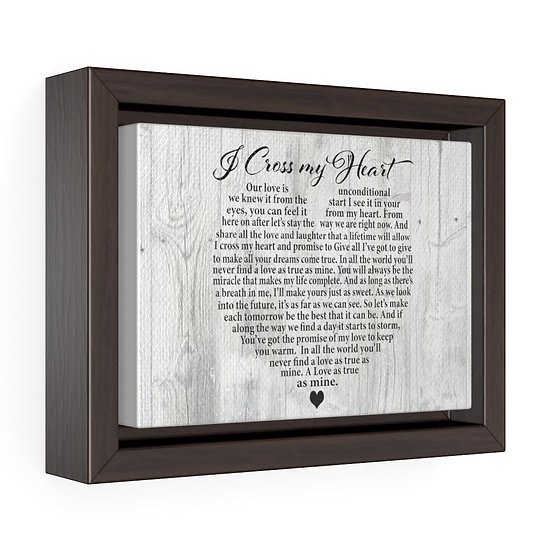 Personalized Canvas Print, I Cross My Heart, Wood, Horizontal Framed Wrap