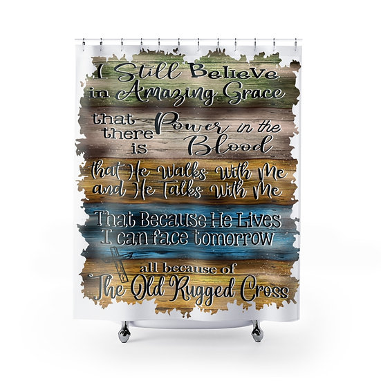Old Rugged Cross Christian Quote Shower Curtains