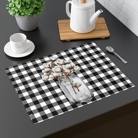 Plaid Farmhouse Placemat, Mason Jar of Cotton, 18 in x 14 in Table Placemats
