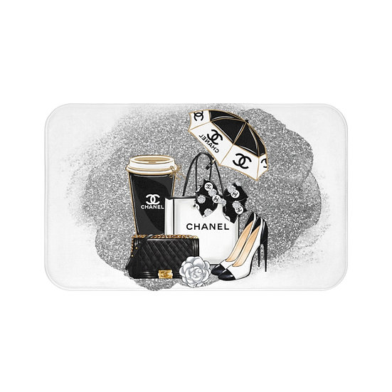 Bath Mat, Silver and Black, Shoes, Chanel Fashion Illustration watercolor rug