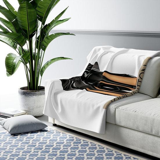 Blanket, Fashion Sherpa Fleece Blanket,  Fashionista Illustration Blanket,