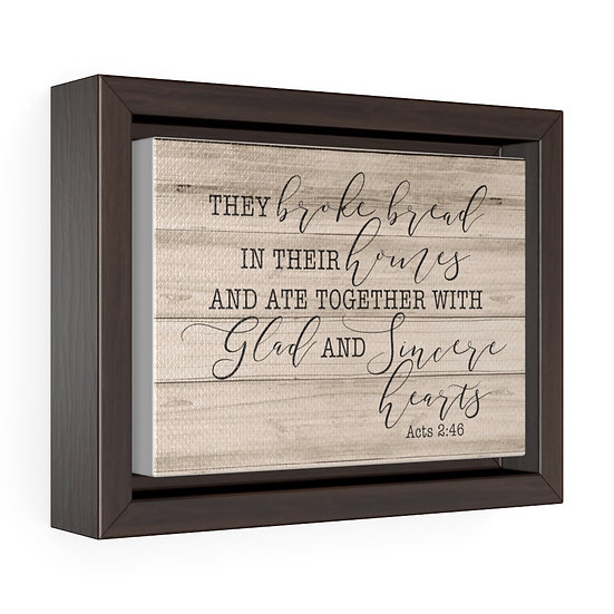 Scripture Sign, They Broke Bread Canvas Print, Acts 2 46 Dining Room Sign