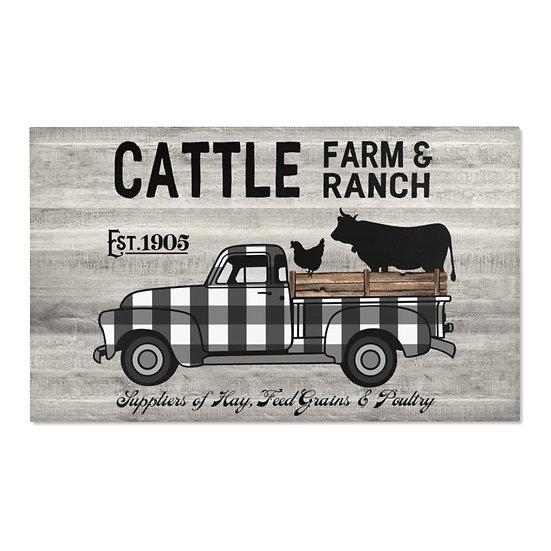 Area Rug, Farmhouse Truck and Cattle Rug, Gray Barnwood Print Farmhouse Rug