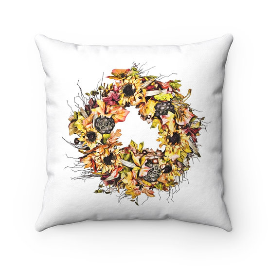 Sunflower Fall Pillow, Farmhouse Sunflower Wreath Pillow, Decorative Pillow
