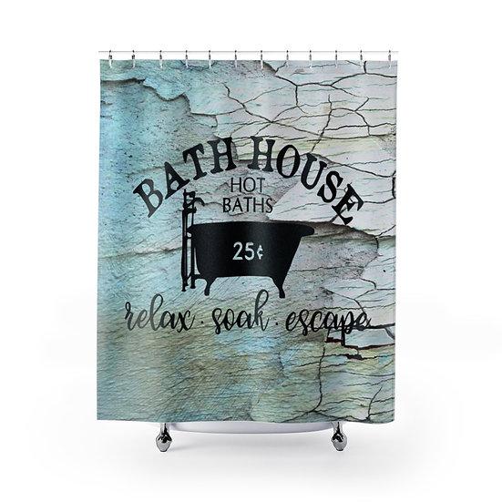 Bath House 25 Cents Shower Curtain, Rustic Farmhouse Bathroom Decor,