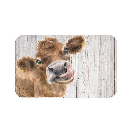 Bath Mat, Watercolor Cow Wood Bath Mat, Non Slip Bathroom Rug