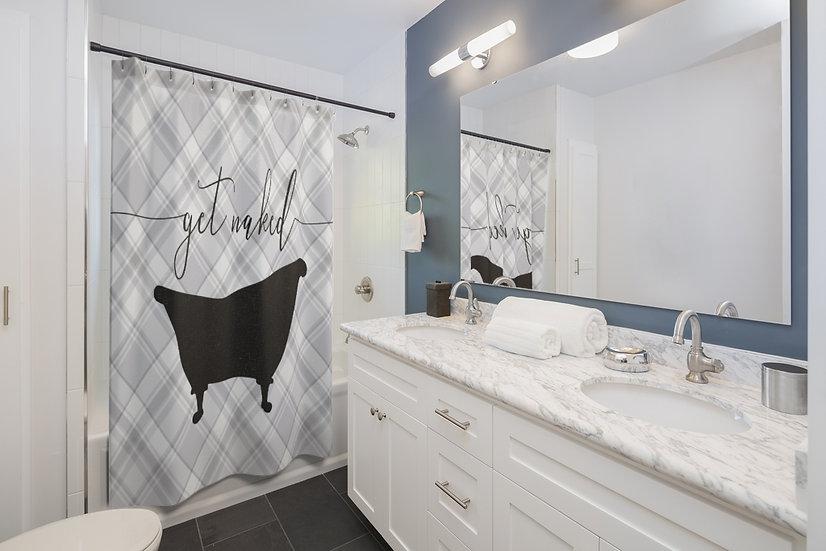 Get Naked Designer Curtain, Shower Curtain Liner, Bathroom Shower
