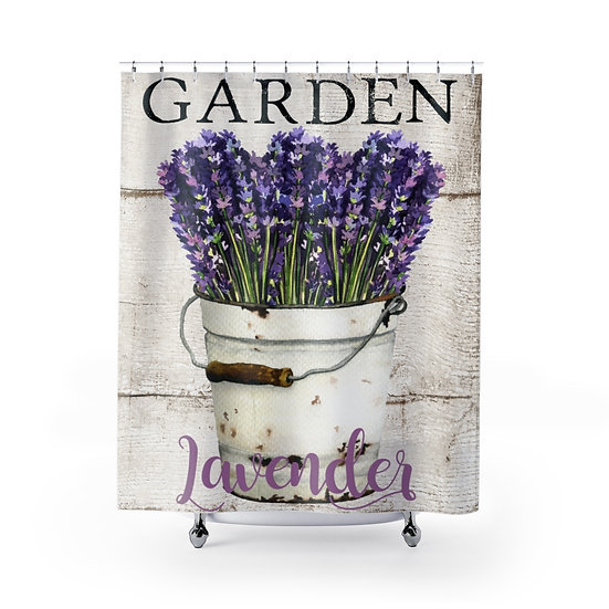 Farmhouse Lavender Shower Curtain, Shabby Chic Fabric Liner