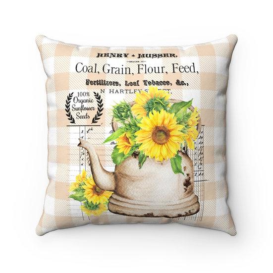 Pillow, Sunflower Tea Kettle Farmhouse Throw Pillow, Housewarmings Pillow gifts