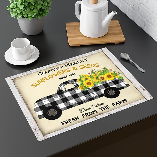 Farmhouse Placemat, Sunflowers Plaid Truck, Table Placemat