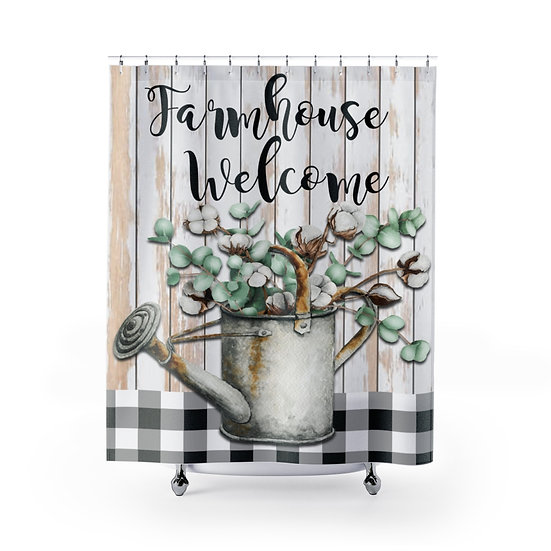 Farmhouse Shower Curtain, Welcome Cotton Watering Can Fabric Liner
