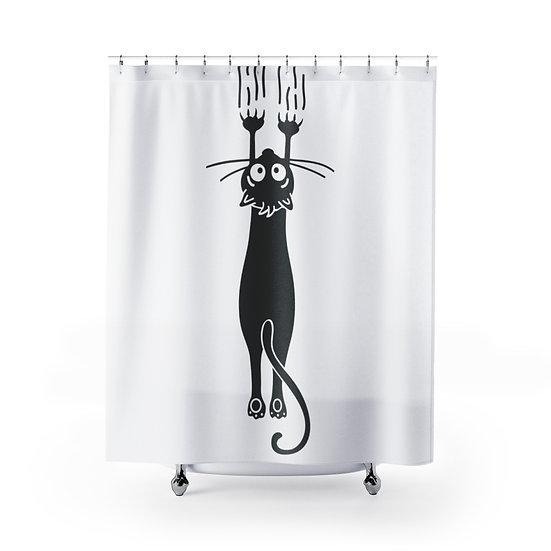 Shredding Cat Shower Curtains, Cat Lovers Fabric Liner, Funny Bathroom Decor