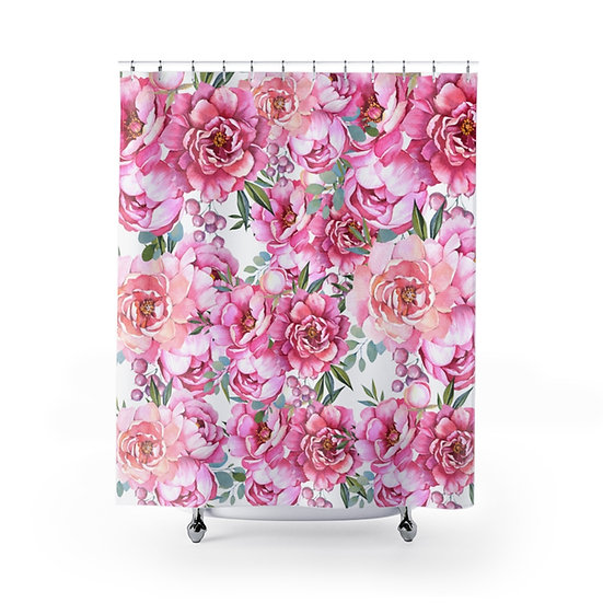 Shower Curtain, Peonies Floral Shower Curtain, Pink Peonies Shower Liner, Pink