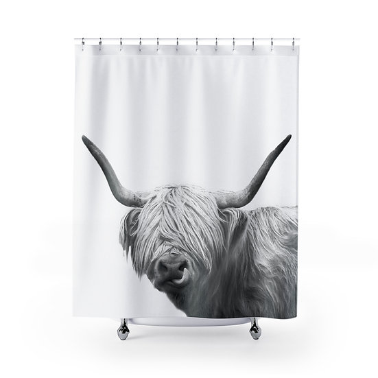 Shower Curtain, Highland Cow With Tongue Out, Shower Curtains, Cow Fabric Liner